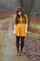 mustard skater H&M dress - brown mink vintage hat - dark brown jewel tights