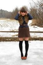 black polka dot Urban Outfitters socks - deep purple plaid vintage blazer