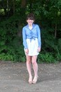 Sky-blue-chambray-shirt-light-pink-floral-thrifted-skirt