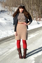 dark brown uttley Aldo boots - heather gray striped H&M dress - red HUE tights -