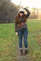 dark brown tweed vintage blazer - dark brown cheerio seychelles boots