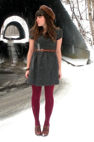 brown thrifted belt - charcoal gray Forever 21 dress