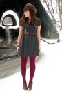 Charcoal-gray-forever-21-dress-dark-brown-mink-vintage-hat-maroon-goodwill-t