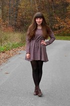 brick red modcloth dress - dark brown cheerio seychelles boots
