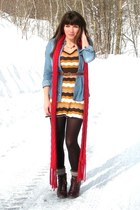 dark brown cheerio seychelles boots - brown chevron sweater H&M dress - light bl