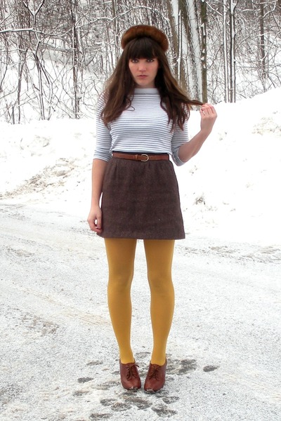 brown blimey oxfords seychelles shoes - dark brown mink vintage hat - off white