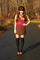 black polka dot Urban Outfitters tights - ruby red striped thrifted shirt