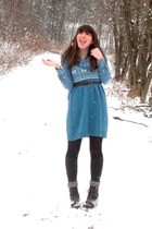 sky blue thrifted dress - dark brown thrifted belt - dark brown seychelles boots