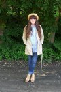 Light-yellow-straw-thrifted-hat-camel-trench-h-m-coat