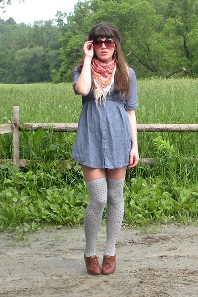 Sky Blue Chambray Tunic Dresses Red Forever 21 Scarves