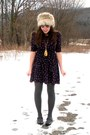 Navy-forever-21-dress-yellow-forever-21-necklace-heather-gray-h-m-hat-char