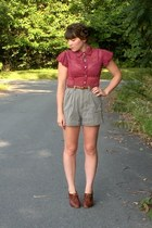 maroon polka dot thrifted blouse - army green thrifted shorts