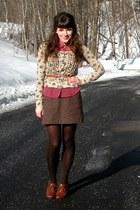 brown blimey oxfords seychelles shoes - dark brown HUE tights - maroon polkadot