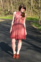 brown blimey oxfords seychelles shoes - brick red vintage dress - cream slip Urb