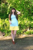 sky blue chevron handmade by me dress - brown blimey oxfords seychelles heels