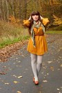 Mustard-h-m-dress-heather-gray-heather-tights-burnt-orange-thrifted-scarf