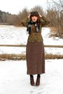 Dark-brown-cheerio-seychelles-boots-dark-brown-polka-dot-midi-thrifted-dress