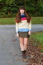 red wool vintage sweater - dark brown cheerio seychelles boots