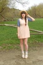light pink terrycloth thrifted dress - sky blue chambray TJMaxx dress