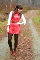 white thrifted blouse - burnt orange DIY dress - brown seychelles shoes