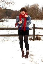 blue snowflake thrifted sweater - dark brown cheerio seychelles boots