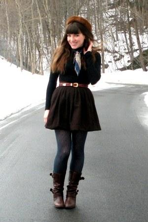 dark brown uttley Aldo boots - black turtleneck American Apparel dress - dark br