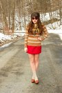 Camel-striped-merona-sweater-gold-vintage-anne-klein-scarf