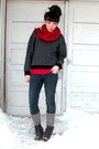 Navy-llbean-sweater-blue-pacsun-jeans-red-shirt-dark-brown-socks-dark-br