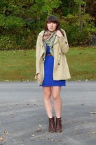 blue thrifted Express dress - dark brown cheerio seychelles boots