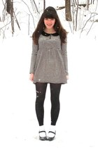 black mary janes Payless shoes - navy Forever 21 dress - black Goodwill tights -