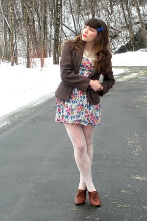 brown blimey oxfords seychelles shoes - hot pink floral Forever 21 dress - dark