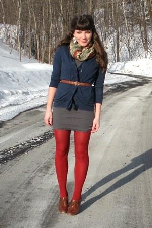 brown blimey oxfords seychelles shoes - heather gray filenes basement dress - re