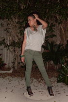 green pants - black Aldo shoes - silver shirt - accessories - vintage accessorie