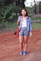 leather Tilkah bag - denim DKNY jacket - printed shorts - v-neck Saba t-shirt