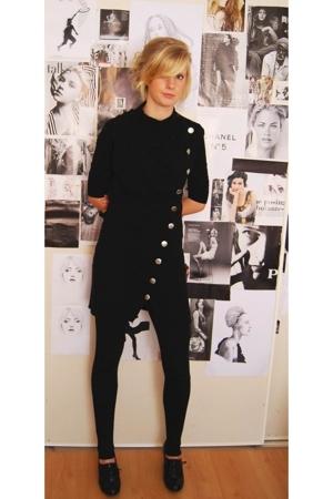 black Big W shoes - black kenji dress - black Sportsgirl tights
