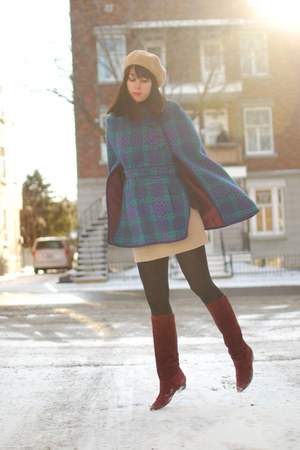 turquoise blue vintage cape - crimson vintage boots - camel vintage hat