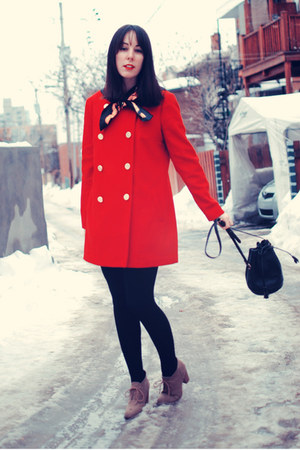red Mango coat - camel Forever 21 boots - black Forever 21 tights