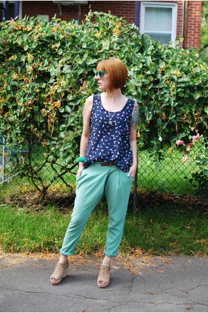 green vintage bracelet - teal ardenes sunglasses - tan H&M wedges
