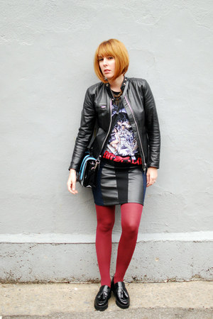 black Mango shoes - black thrifted vintage jacket - crimson Gap tights