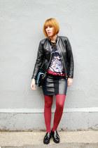 black Mango shoes - black thrifted vintage jacket - crimson Gap tights