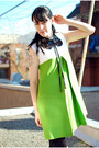 Chartreuse-vintage-dress-black-vintage-shoes-black-urban-outfitters-tights
