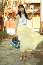 light yellow vintage skirt - light blue pony bag OASAP bag