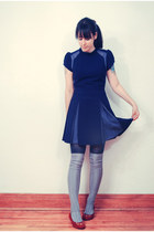 navy Sugarlips dress - navy H&M tights - silver knee high socks H&M socks