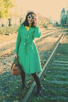 chartreuse thrifted vintage coat - black vintage boots - camel vintage hat