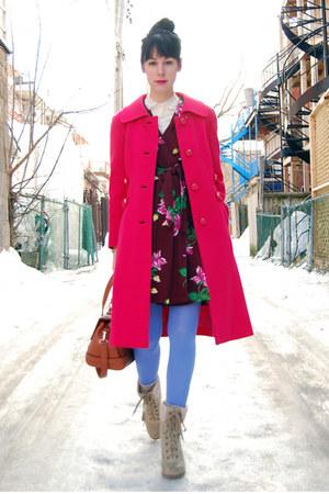 crimson vintage dress - beige Report boots - hot pink vintage coat