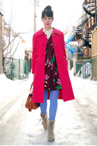 hot pink vintage coat - beige Report boots - crimson vintage dress