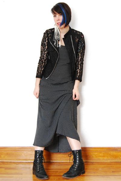 black leather vintage boots - black polka dots vintage dress
