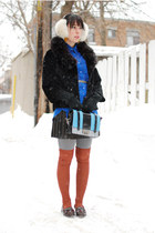 light blue Gaya purse - dark brown vintage coat - white harricana hat