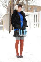light blue Gaya purse - dark brown vintage coat - white harricana hat