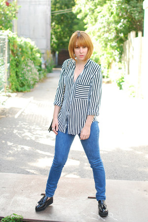 black OASAP bag - navy Urban Outfitters jeans - black Zara blouse
